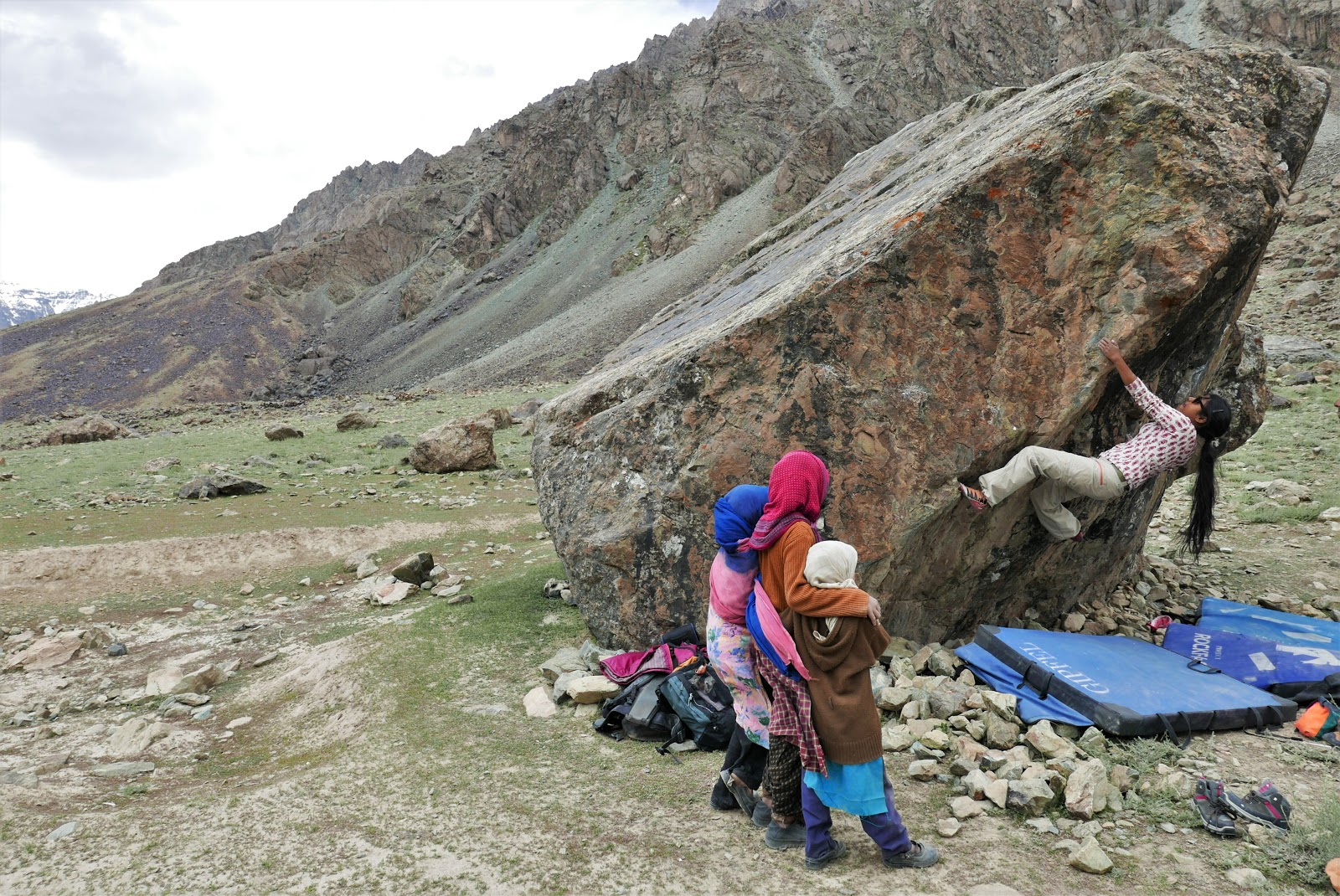 Josh's friend, Tania, bouldering in Kashmir